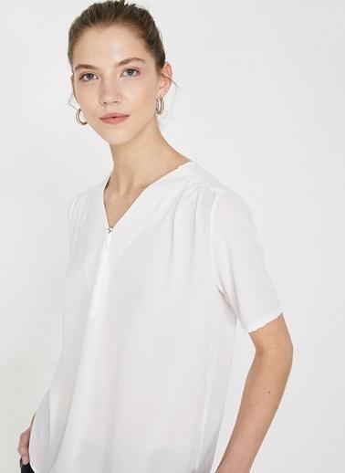 Koton Koton V Yaka Beyaz Bluz Ekru